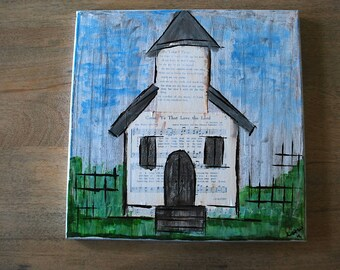 Come Ye that Love the Lord - Whimsy Rustic Hymnal Church Painting  - 12 x 12