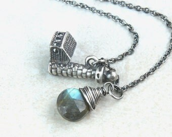 Ocean Necklace Oxidized  Silver Labradorite Necklace  Gemstone  Jewelry Lighthouse Charm Sea Pendant