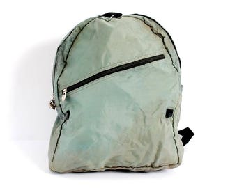 GREEN nylon 70s 80s BACKPACK unisex camping