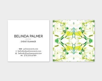 White + Chartreuse Tiled Marble Calling Cards   Business Cards   Blogger Cards   Set (50)