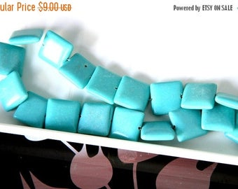 """End of Summer CLEARANCE Imitation Square Puff Turquoise Beads, 16x16mm, 15"""" strand"""