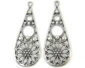 Antique Silver Filigree Earring Finding, Flower Earring Dangle, Teardrop Earring Parts |S8-14|2