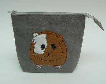 Cute guinea pig applique linen zipped pouch, make-up bag, knitting notions bag