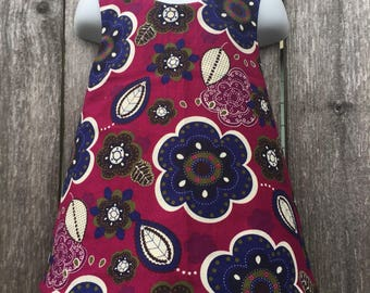 Pinafore Size 3T --- mulberry Reversible Top (((ready to ship)))