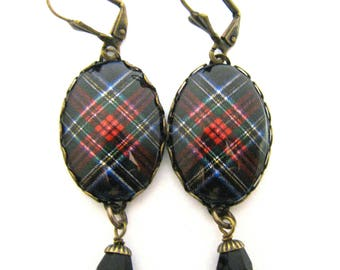 Scottish Tartan Jewelry - Ancient Romance Series - Royal Stewart Black Clan Tartan Earrings w/Mystic Black Swarovski Crystal Pearls