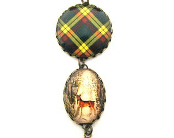 Scottish Tartan Jewelry - Ancient Romance Series- MacMillan Clan Tartan Scottish Hare Brooch w/Victorian Stag Charm and Onyx Black Crystal