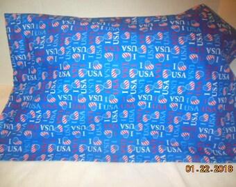 I Love USA Patriotic Pillowcase
