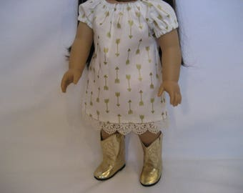 18 Inch  Doll Clothes - Gold Arrows Dress made to fit dolls such as American Girl, Maplelea and Journey dolls