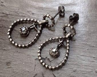 Sterling Silver Teardrop Earrings - Dotted Silver Earrings - Herkimer Diamond Earrings - Metalwork Earrings - Dangle Post Earrings