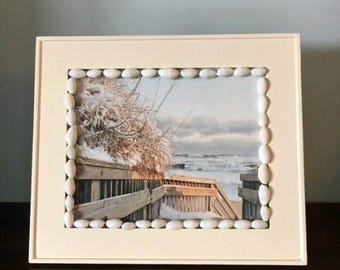 JULY SALES EVENT Beach Theme Home Decor - Beach with a touch of snow!  Upcycled Cottage Chic!  Gift Idea - Summer Home Decor - Summer Art