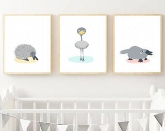 Echidna Emu Platypus Australian Animal Kids Bedroom & Nursery Instant Download