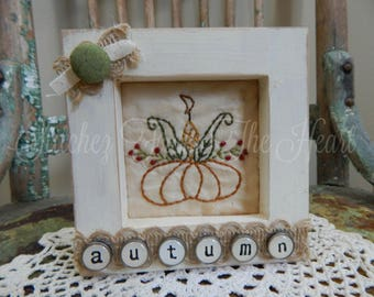 Decorative Autumn Framed Stitchery - Pumpkin - Corn - Fall Home Decor - Fall Decor - Harvest Decorations - Fall Pumpkin Decorations