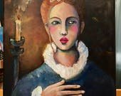 Reserved for Kim - Lady Rosanna by Candlelight - Original Portrait Painting