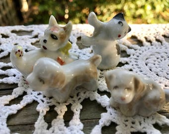 Lot of 4 Vintage Japan Miniature Dogs and Cat Figurines