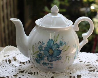 Vintage White China Teapot with Blue Flowers