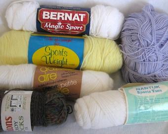 Lot Six Skeins Sport Baby Yarn Various Makers Vintage
