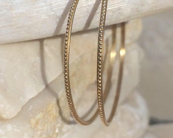 14k gold hoops medium hammered all bead pattern 1.25 inch