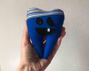 "SALE! My Itty Bitty Pirate Tooth Fairy Pillow 5"" in Royal Blue Felt, ready to ship"