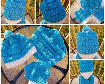 Crochet Adult Child Turqua Bobble Hat Cowl & Fingerless Gloves READY TO SHIP