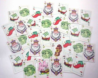Vintage 1950s Cabbages and Kings Children's Playing Cards by Whitman Partial Set of 33 with Anthropomorphic Cabbages
