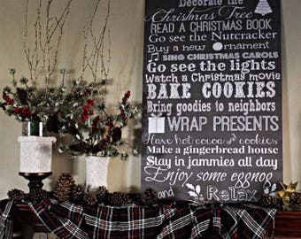 Christmas List Typography Sign - You choose size 8x10, 16x20, 20x24, 24x36 & type of sign material