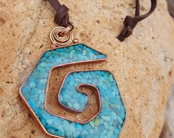 Turquoise Swirl Necklace - Sleeping Beauty Turquoise -  Copper - Leather Necklace -Adjustable - Jewelry by Heart of a Cowgirl