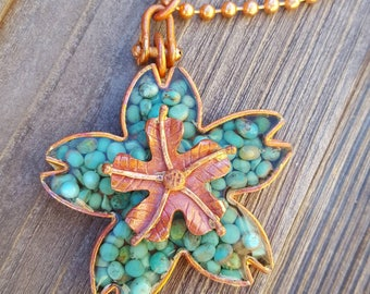 Turquoise Blossom Necklace - Copper Flower - Campitos Mine Turquoise - Copper Chain - Cowgirl Necklace by Heart of a Cowgirl