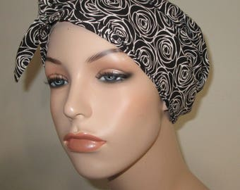 Black and White Roses Chemo Scarf, Hat, Cancer Hat, Hijab, Alopecia MADE in USA