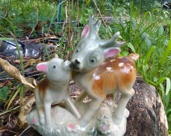 Vintage Mid Century Lusterware Ceramic Deer Figurine Japan