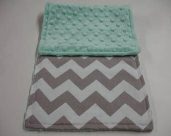 Gray Medium Chevron Baby Burp Cloth with Mint Minky On Sale
