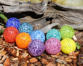 Set of 10 Small Colorful Hand Blown Glass Floats, Garden Balls, Gazing Glass Orbs In Shades of the rainbow Outdoor Art Decoration
