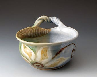 Soup Bowl with Handle and Flower Motif, Handmade Ceramic Bowl, Serving Bowl, Fine Art Ceramics