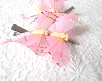 Butterfly hair clip, pink alligator clip, fashion accessory, womens accessory