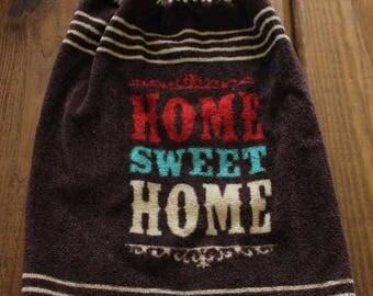 Brown Home Sweet Home Crochet Top Hanging Towel