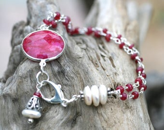 Ruby Gemstone, White Freshwater Pearl, Double Strand Sterling Silver, Gemstone Wire Wrapped Bracelet, Ruby Bracelet, Birthstone Jewelry