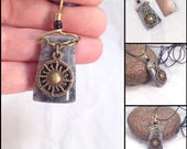 Marble sun charm pendant, dangle, bauble