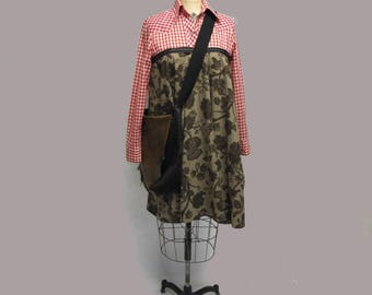Handmade Rockabilly Harajuku Western Mixed Media Babydoll Dress OOAK Med