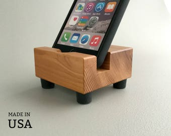 iPhone Docking Station - Cell Phone Stand - Wood iPhone Dock - for iPhone 6 and 6+, i Phone 8 and 8+ Samsung Galaxy, and More