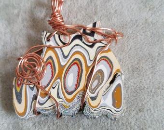 Fordite Pendant, 18 in copper chain, wire work,