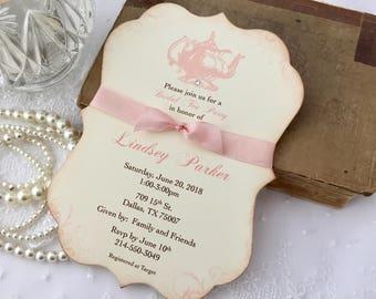 Bridal Shower Tea Party Invitations, Blush Pink Teapot Invites, Printed Invitations, Set of 10