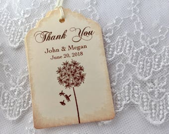 Dandelion Tags, Dandelion Favor Tags, Dandelion Wedding Tags, Set of 10