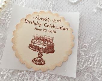 Happy Birthday Stickers, Birthday Stickers, Set of 10, 30th Birthday 40th Birthday, 50th Birthday