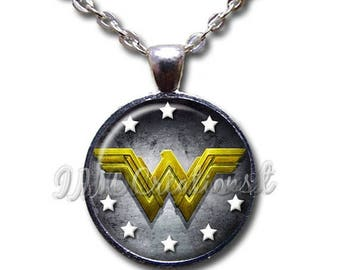 25% OFF - Wonder Woman Modern Symbol Glass Dome Pendant or with Chain Link Necklace FT129