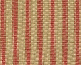 Red Stripe Material | Homespun Ticking Material | Red And Tea Dye Stripe Ticking Material | Primitive Material | Cotton Home Decor Material