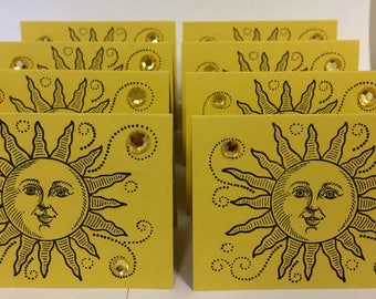 Sunshine Gift Place Cards Set of Eight 8 Sun Sunny You Are My Faux Gems Table Decoration Decor Party Yellow Mustard Thank You Thanks Summer