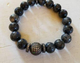 Black labradorite Stone Elastic Bracelet Layering Elastic Bracelet