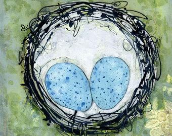 Nest Art, Bird Art, Colorful Art, Nest Painting, Original Artwork, Eggs, Birds, Eclectic Art, Nest 24x24