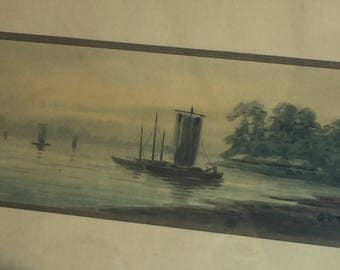 Vintage Watercolor Painting - Junk Boat River Shore Signed Gota -Antique Muted Colors
