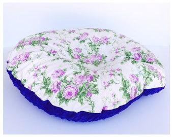 NEWBORN LOUNGER BOPPY Cover / Zipper closure/ Purple rose print with purple minky dimples, modern baby nursery gift