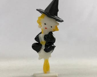 Vintage Miniature Witch Diorama Display Terrarium Miniature Hard Plastic